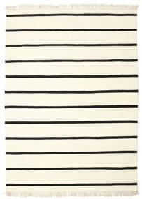 Dhurrie Stripe - White/Black Rug 160X230 Authentic  Modern Handwoven Beige/White/Creme (Wool, India)