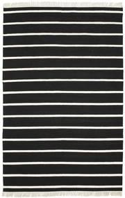 Dhurrie Stripe - Black/White Rug 190X290 Authentic  Modern Handwoven Black/Beige (Wool, India)