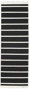 Dhurrie Stripe - Black/White Rug 80X250 Authentic  Modern Handwoven Hallway Runner  Black/White/Creme (Wool, India)