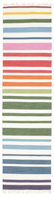 Rainbow Stripe - White Rug 80X300 Authentic  Modern Handwoven Hallway Runner  White/Creme (Cotton, India)