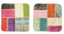 Patchwork Pillowcase Rug 50X50 Authentic Oriental Handknotted Square Dark Grey/Light Pink (Wool, Turkey)