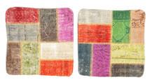 Patchwork Pillowcase Rug 50X50 Authentic Oriental Handknotted Square Dark Beige/Crimson Red (Wool, Turkey)
