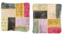 Patchwork Pillowcase Rug 50X50 Authentic Oriental Handknotted Square Dark Grey/Dark Beige (Wool, Turkey)