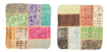 Patchwork Pillowcase Rug 50X50 Authentic  Oriental Handknotted Square Dark Beige/Light Grey (Wool, Turkey)