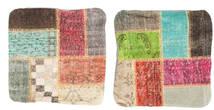 Patchwork Pillowcase Rug 50X50 Authentic Oriental Handknotted Square Dark Brown/Light Green (Wool, Turkey)