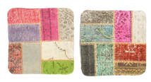 Patchwork Pillowcase Rug 50X50 Authentic  Oriental Handknotted Square Light Grey/Light Green (Wool, Turkey)