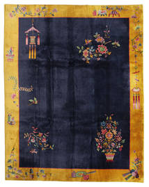 China Antique: Art Deco 1920 Rug 280X355 Authentic Oriental Handknotted Black/Dark Grey Large (Wool, China)