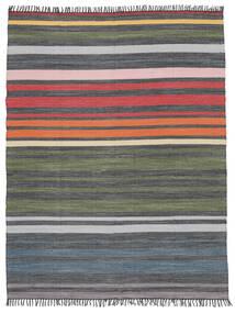 Rainbow Stripe - Grey Rug 250X300 Authentic  Modern Handwoven Dark Grey/Olive Green Large (Cotton, India)