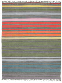 Rainbow Stripe - Grey Rug 200X250 Authentic  Modern Handwoven Light Grey/Olive Green (Cotton, India)