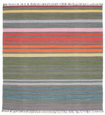 Rainbow Stripe - Grey Rug 200X200 Authentic  Modern Handwoven Square Dark Grey/Light Grey (Cotton, India)