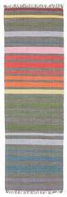 Rainbow Stripe - Grey Rug 80X250 Authentic  Modern Handwoven Hallway Runner  (Cotton, India)