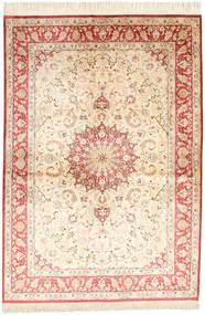 Qum Silk Signed: Ahmadi Rug 139X198 Authentic  Oriental Handknotted Beige/Light Pink (Silk, Persia/Iran)