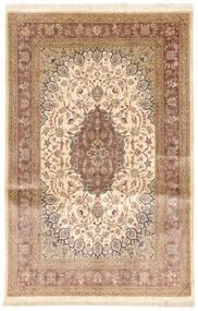 Qum Silk Rug 131X208 Authentic  Oriental Handknotted Beige/Dark Beige/Light Brown (Silk, Persia/Iran)