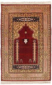 Herike Tu Rug 82X130 Authentic Oriental Handknotted Dark Red/Light Brown (Silk, Turkey)
