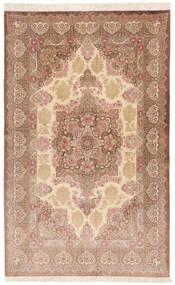 Qum Silk Signed: Rezai Rug 130X203 Authentic  Oriental Handknotted Dark Beige/Light Brown (Silk, Persia/Iran)