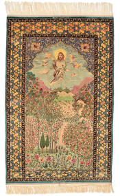 Isfahan Pictorial Signed: Haghighi Rug 163X230 Authentic Oriental Handknotted Brown/Beige (Wool/Silk, Persia/Iran)