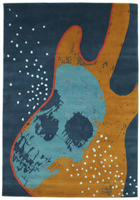 From Obscure Rythms Rug 135X190 Authentic  Modern Handknotted Dark Blue/Brown (Wool, India)