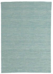 Kilim Loom - Mint Green Rug 140X200 Authentic  Modern Handwoven Pastel Green/Turquoise Blue (Wool, India)