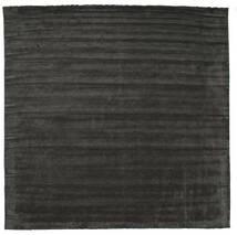 Handloom Fringes - Black/Grey Rug 400X400 Modern Square Dark Grey Large (Wool, India)