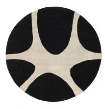 Stones Handtufted - Black Rug Ø 150 Modern Round Black/Light Grey (Wool, India)