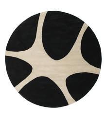 Stones Handtufted - Black Rug Ø 225 Modern Round Black/Light Grey (Wool, India)