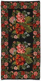 Rose Kelim Rug 158X315 Authentic  Oriental Handwoven Black/Dark Green (Wool, Moldova)