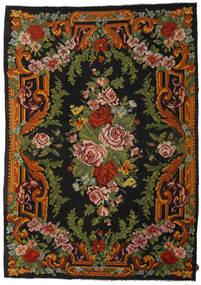 Rose Kelim Rug 247X347 Authentic  Oriental Handwoven Black/Dark Green (Wool, Moldova)