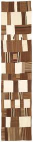 Kilim Patchwork Rug 83X400 Authentic  Modern Handwoven Hallway Runner  Brown/White/Creme (Wool, Turkey)