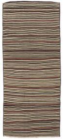 Kilim Fars Rug 140X333 Authentic  Oriental Handwoven Hallway Runner  Dark Brown/Dark Beige (Wool, Persia/Iran)