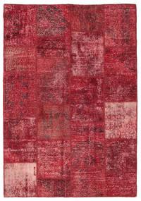 Patchwork Rug 158X230 Authentic  Modern Handknotted Dark Red/Crimson Red (Wool, Turkey)