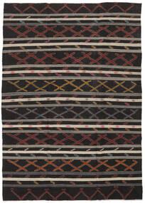 Kilim Semi Antique Turkish Rug 235X334 Authentic  Oriental Handwoven Black/Dark Brown (Wool, Turkey)