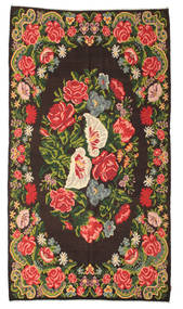 Rose Kelim Moldavia Rug 200X358 Authentic  Oriental Handwoven Black/Dark Grey (Wool, Moldova)