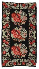 Rose Kelim Moldavia Rug 174X321 Authentic  Oriental Handwoven Black/Dark Brown (Wool, Moldova)
