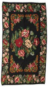 Rose Kelim Moldavia Rug 176X338 Authentic  Oriental Handwoven Black/Dark Green (Wool, Moldova)