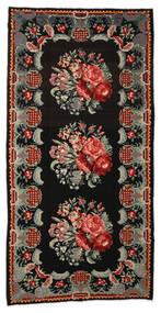 Rose Kelim Moldavia Rug 187X347 Authentic  Oriental Handwoven Black/Dark Grey (Wool, Moldova)