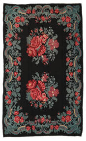 Rose Kelim Moldavia Rug 191X310 Authentic  Oriental Handwoven Black/Dark Grey (Wool, Moldova)