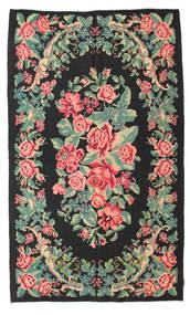 Rose Kelim Moldavia Rug 154X288 Authentic  Oriental Handwoven Black/Pastel Green (Wool, Moldova)