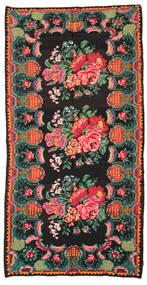 Rose Kelim Moldavia Rug 186X360 Authentic  Oriental Handwoven Black/Dark Turquoise   (Wool, Moldova)
