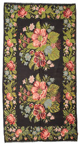 Rose Kelim Moldavia Rug 195X367 Authentic  Oriental Handwoven Black/Dark Brown (Wool, Moldova)