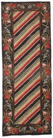 Rose Kelim Moldavia Rug 132X366 Authentic  Oriental Handwoven Hallway Runner  Black/Dark Grey (Wool, Moldova)