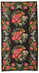 Rose Kelim Moldavia Rug 180X327 Authentic  Oriental Handwoven Black/Dark Green (Wool, Moldova)