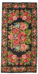 Rose Kelim Moldavia Rug 198X400 Authentic  Oriental Handwoven Black/Dark Brown (Wool, Moldova)
