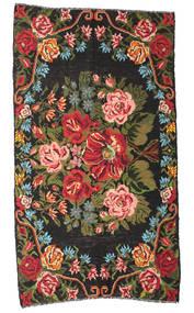 Rose Kelim Moldavia Rug 178X324 Authentic  Oriental Handwoven Black/Dark Brown (Wool, Moldova)
