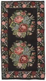 Rose Kelim Moldavia Rug 194X364 Authentic  Oriental Handwoven Hallway Runner  Black/Dark Brown (Wool, Moldova)