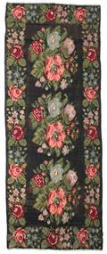 Rose Kelim Moldavia Rug 180X462 Authentic  Oriental Handwoven Hallway Runner  Black/Olive Green (Wool, Moldova)