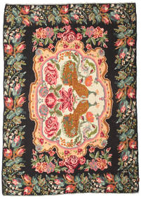 Rose Kelim Moldavia Rug 205X290 Authentic  Oriental Handwoven Black/Olive Green (Wool, Moldova)