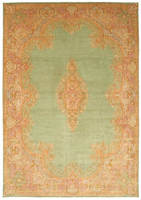 Kerman Rug 394X570 Authentic Oriental Handknotted Dark Beige/Light Green/Light Brown Large (Wool, Persia/Iran)