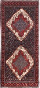 Senneh Rug 140X321 Authentic  Oriental Handknotted Hallway Runner  Dark Brown/Dark Red (Wool, Persia/Iran)