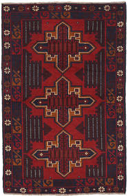 Baluch Rug 84X140 Authentic  Oriental Handknotted Black/Dark Red (Wool, Afghanistan)