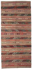 Kilim Semi Antique Turkish Rug 163X364 Authentic  Oriental Handwoven Hallway Runner  Dark Red/Dark Grey (Wool, Turkey)